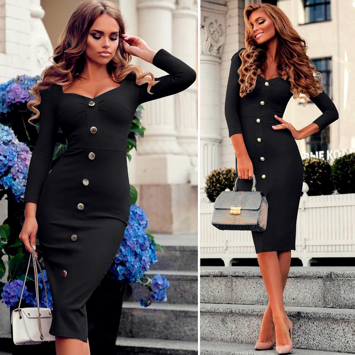 Черное платье с пуговицами (Код MF-192)