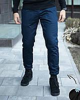 """Джоггеры мужские зимние коттоновые на флисе Pobedov """"Будет тепло"""" темно-синие, фото 1"""