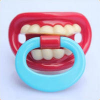 Силиконовая соска пустышка Красные губки с зубками №1