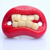 Силиконовая соска пустышка Красные губки с зубками №2
