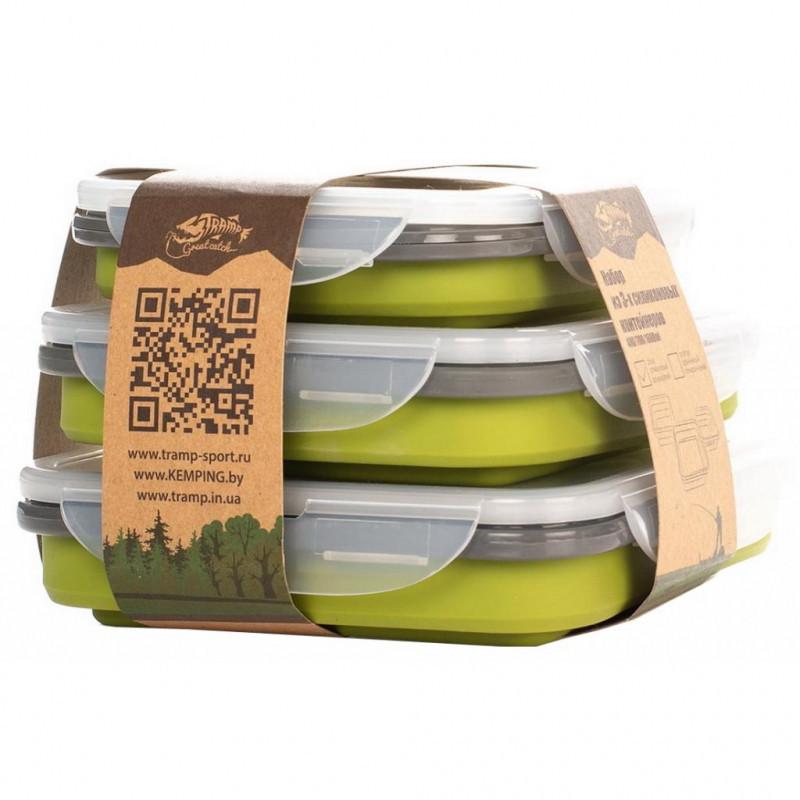 Набор из 3х силиконовых контейнеров Tramp (400/700/1000ml) Olive (TRC-089-olive)