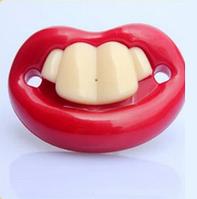 Силиконовая соска пустышка Красные губки с зубками №3