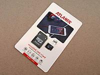 Карта памяти 16ГБ microSDHC Atlanfa 16Gb class 10 + SD adapter  флешка Атланфа microSDTF