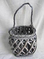 Подсвечник (стекло) в плет. корзине 19х19х18 (250\220) (цена за 1 шт. + 30 гр.)