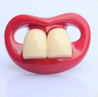 Силиконовая соска пустышка Красные губки с зубками №4