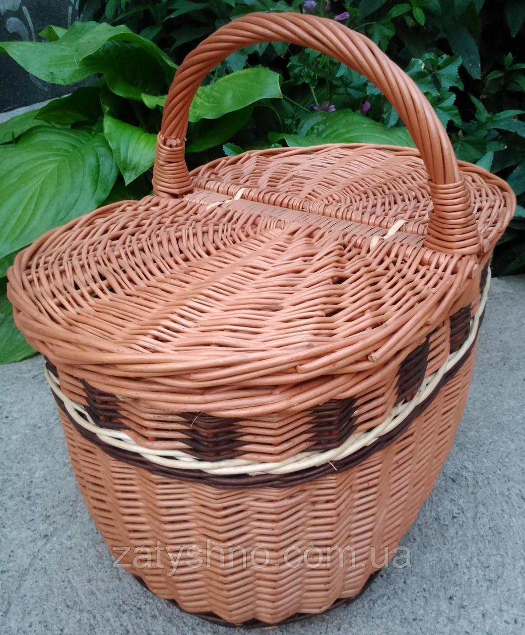 Плетеная корзина пикник овальная