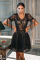 Короткое вечернее платье с прозрачной кокеткой
