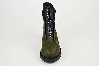 Ботинки Teona демисезонные нубук хаки 19155, фото 3