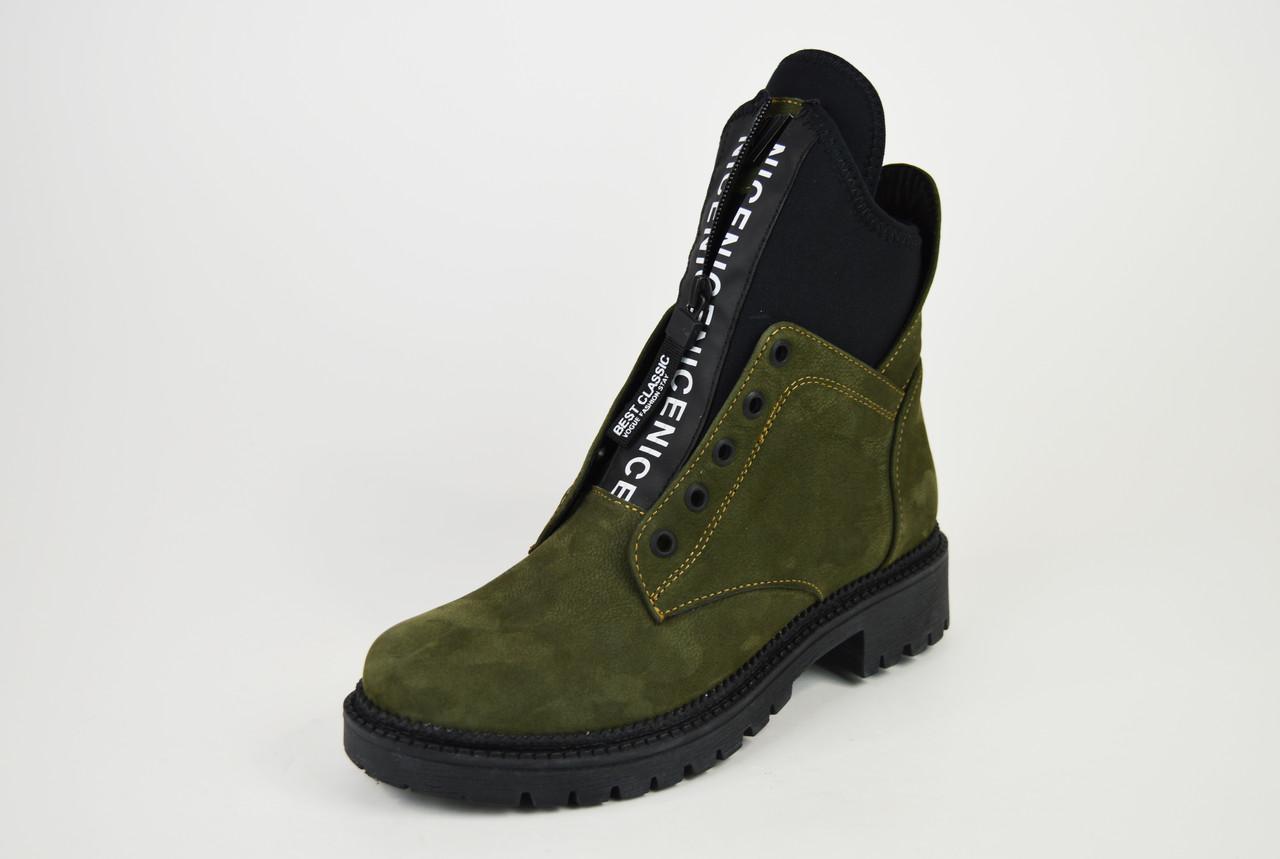 Ботинки Teona демисезонные нубук хаки 19155