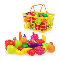 Детская корзина с овощами и фруктами, игрушечные продукты,корзинка, фото 1