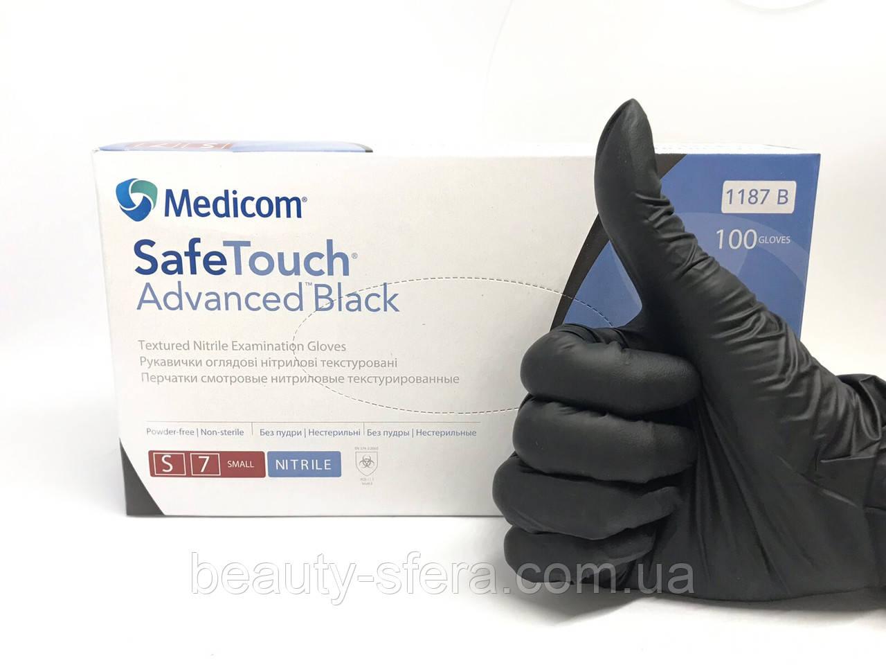 """Перчатки Medicom нитриловые """"SafeTouch Black"""" (S)"""