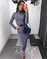 Женское осеннее платье футляр с поясом под горло  черный графит мокко 42-44 44-46, фото 1