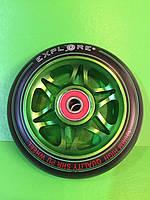 Колесо алюминиевое Explore 100 мм для трюкового самоката с подшипниками ABEC-7 зеленое, фото 1
