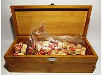Лото в деревянном сундучке с деревянными бочонками I4-6, игра лото, лото игра настольная, фото 1