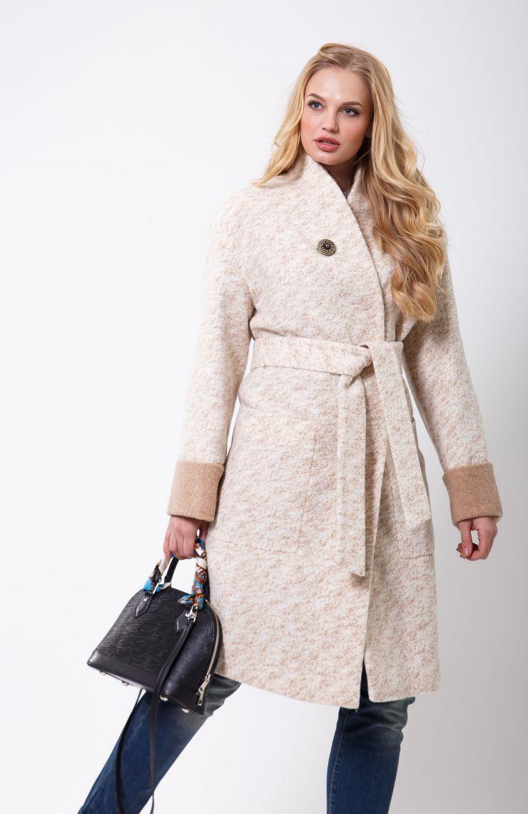 / Размер 50,54 / Женское запашное пальто-халат 2-477L Меланж бело-бежевый