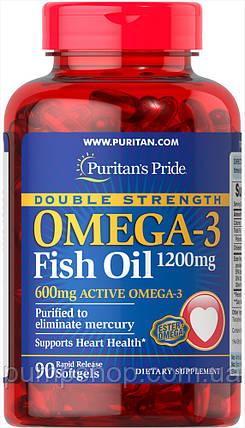 Жирні кислоти омега-3 Puritan's Pride Double Strength Omega-3 Fish Oil 1200 mg/600 mg 90 капс., фото 2