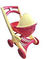 Коляска игрушечная с люлькой (розовая)