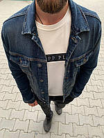 Джинсовый пиджак мужской синего цвета классический