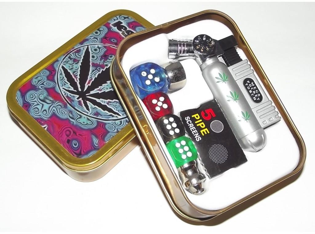Курительный набор подарочный. Раста набор, трубка, зажигалка+ 5 запасных сеточек