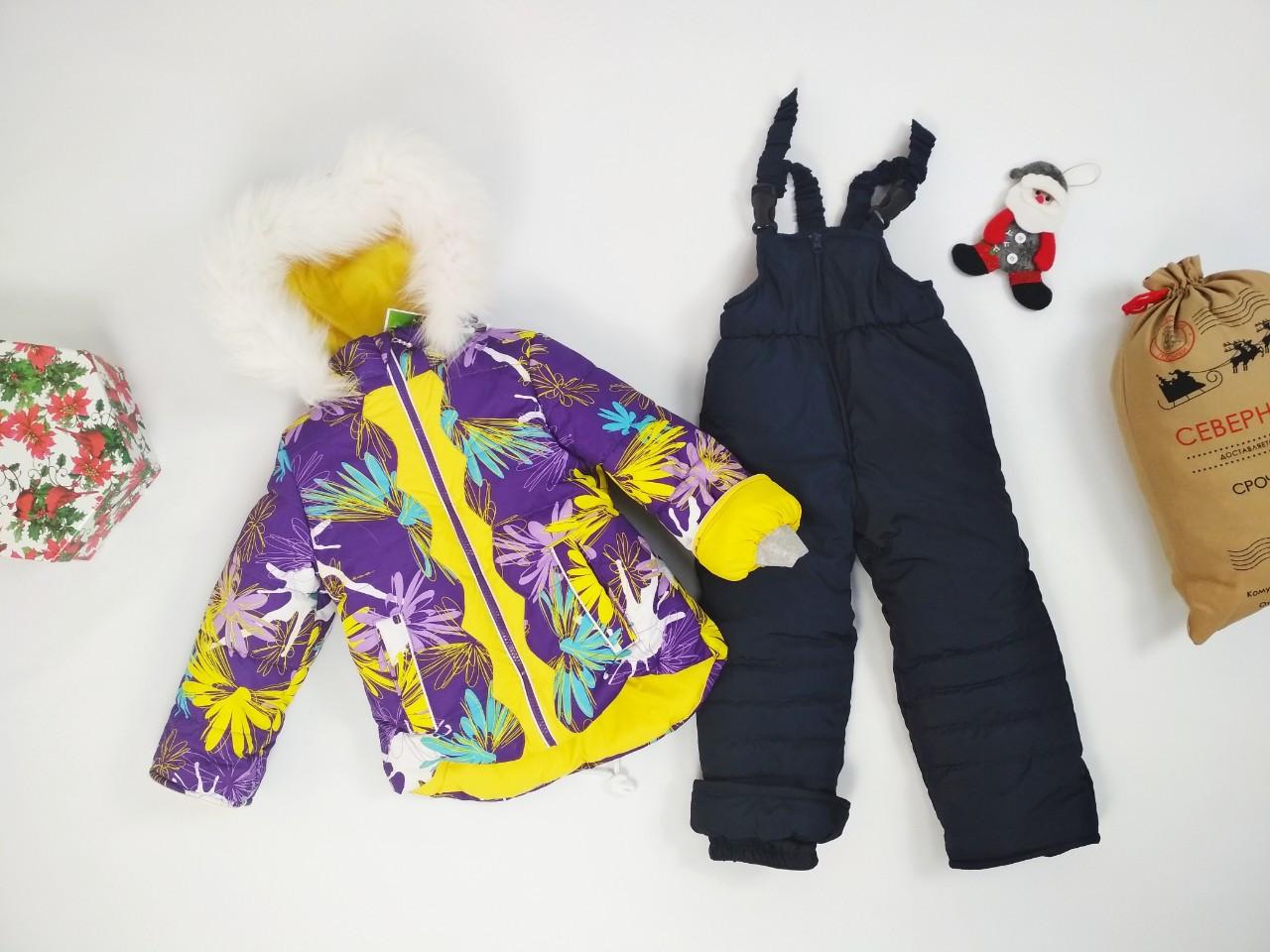 Зимний комплект куртка с цветочным принтом и полукомбинезон для девочки 86-110 р