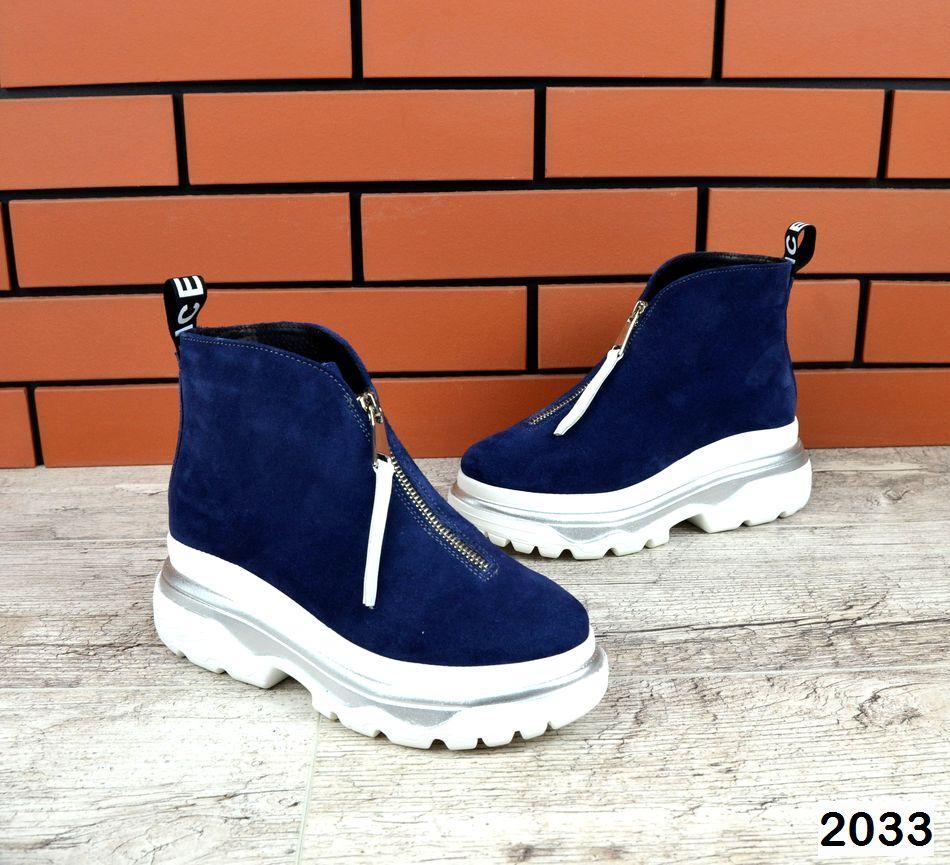 Зимние женские ботинки синего цвета, натуральная замша