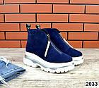 Зимние женские ботинки синего цвета, натуральная замша, фото 2