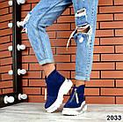 Зимние женские ботинки синего цвета, натуральная замша, фото 3