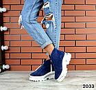 Зимние женские ботинки синего цвета, натуральная замша, фото 4
