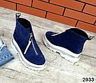 Зимние женские ботинки синего цвета, натуральная замша, фото 5