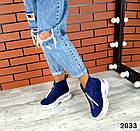 Зимние женские ботинки синего цвета, натуральная замша, фото 6