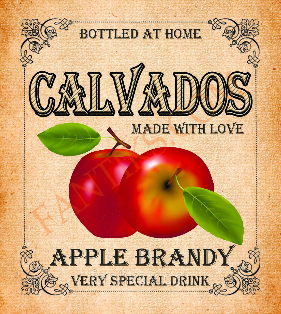 CALVADOS -наклейка сувенирная  на бутылку кальвадоса