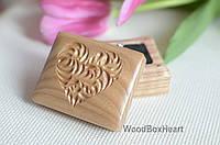 Деревянная шкатулка коробочка футляр для кольца Сердечко капельки