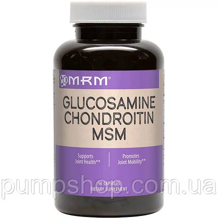 Глюкозамін хондроітин МСМ MRM Glucosamine Chondroitin MSM 90 капс., фото 2