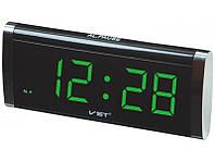 Электронные Часы VST 730 green, цифровые настольные сетевые часы, led alarm clock VST-730, часы с будильником, фото 1