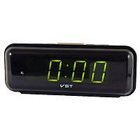 Часы VST 738 Green, настольные часы, часы с будильником, электронные часы, электронный будильник, сетевые часы, фото 1