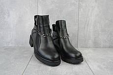 Стильные кожаные женские зимние ботинки с цепочкой