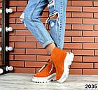 Зимние женские ботинки, рыжий цвет, натуральная замша, фото 4