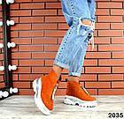 Зимние женские ботинки, рыжий цвет, натуральная замша, фото 5