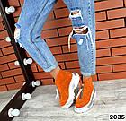 Зимние женские ботинки, рыжий цвет, натуральная замша, фото 3