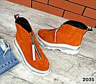 Зимние женские ботинки, рыжий цвет, натуральная замша, фото 6
