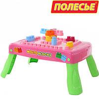 Набор игровой стол с конструктором (20 элементов) в коробке (розовый) с элементом вращения (58010), Полесье