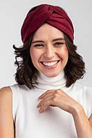 Замшевая повязка на голову бордового цвета с большим узлом