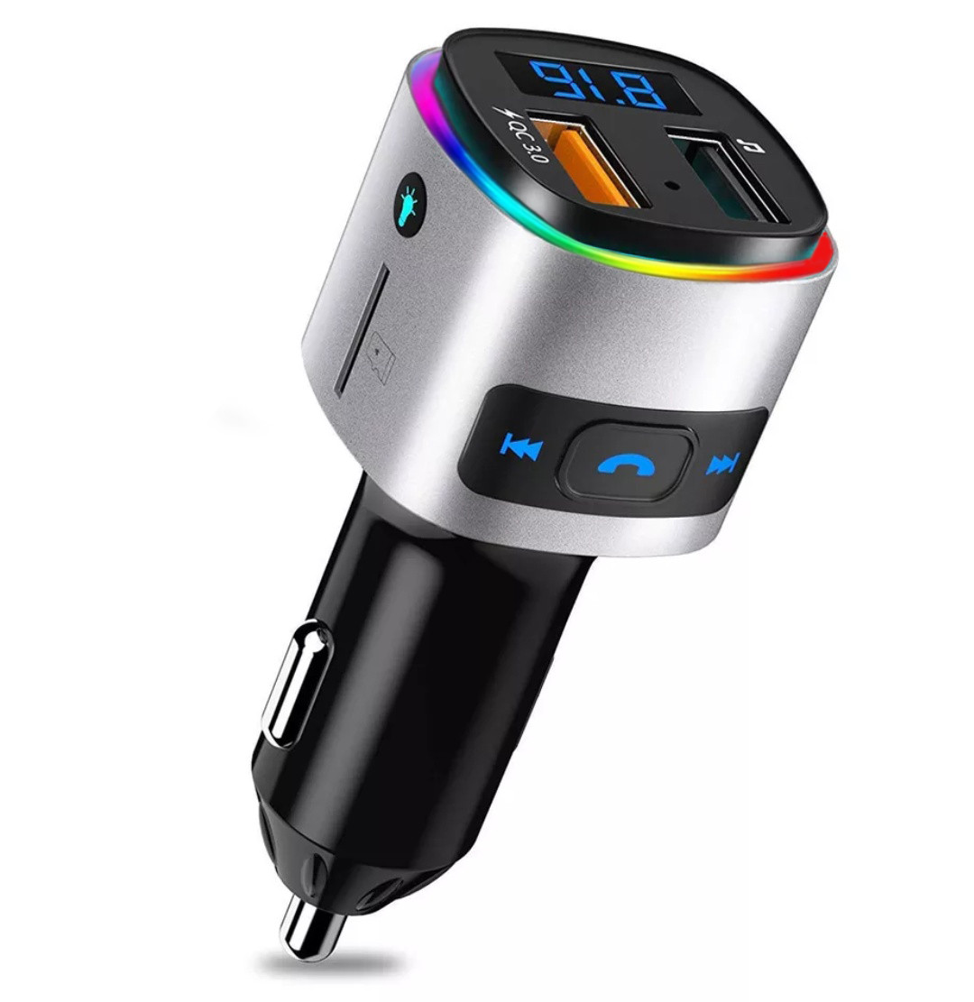 Bluetooth FM модулятор + Быстрая зарядка USB QC 3.0 + Подсветка LED 7 COLORS RGB (HandsFree/microSD/Вольтметр)