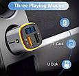 Bluetooth FM модулятор + Быстрая зарядка USB QC 3.0 + Подсветка LED 7 COLORS RGB (HandsFree/microSD/Вольтметр), фото 5