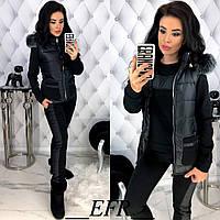 Теплый прогулочный женский костюм тройка с жилетом 42 44 46 48 черный серый бордовый