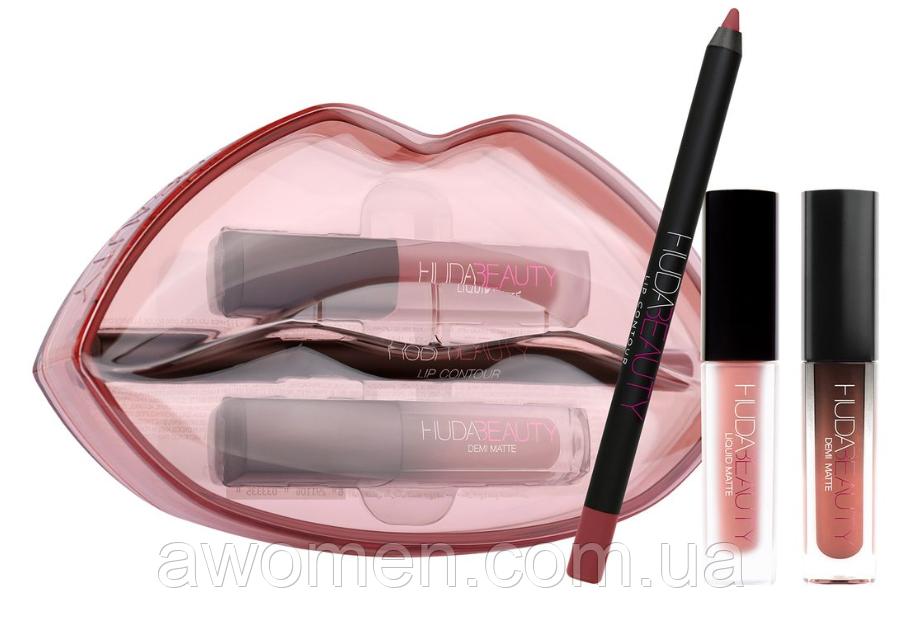 Стойкие помады + карандаш для губ Huda Beauty Matte & Cream Lip Set Bombshell/Mogul