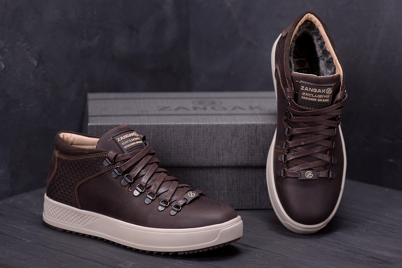 Ботинки мужские зимние кожаные ZG Chocolate Exclusive