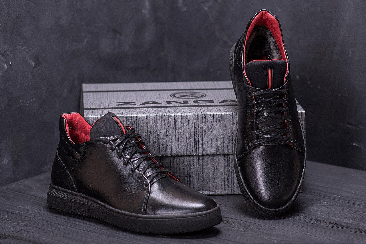 Черевики чоловічі зимові шкіряні ZG Black Red Premium Quality