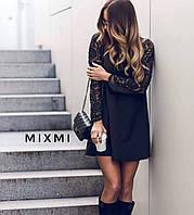 Платье женское с гипюром чёрное 42-44 44-46