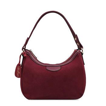 Кожаная женская сумка из натуральной кожи. Сумка хобо женская замшевая Nico Louise (бордовая)